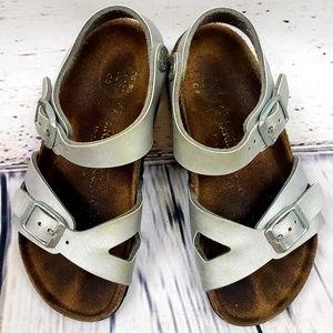 Toddler Girl Silver Birkenstocks Size 8